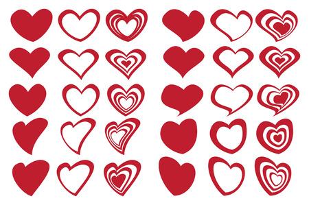 Vector illustration of fancy red heart shape designs inspired by latte art.