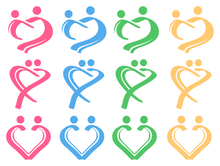 Simple brush strokes forming a heart shape to represent human in loving relationship. Conceptual Vector Icon Set. Vector