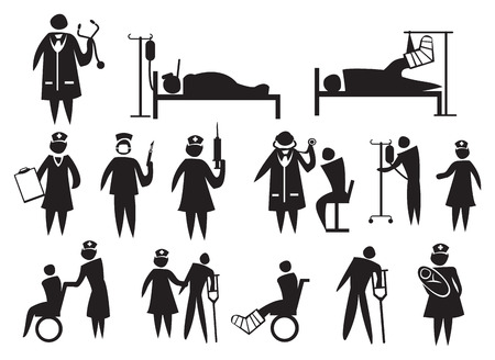 bedridden: icons for the healthcare and medical industry.