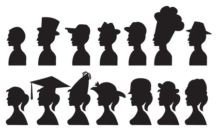 illustration of people in different hats and headdress. Isolated black silhouette. Vector