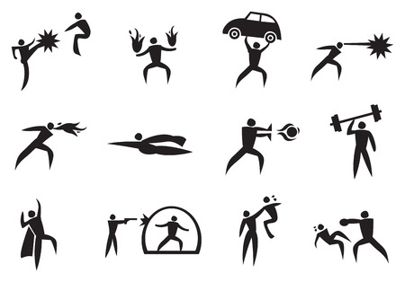 superhuman: illustration of icon man with different super power. Black and White icon set. Illustration