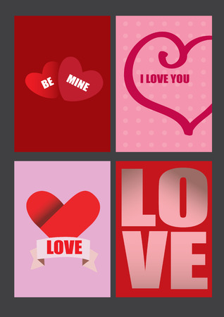 Four vector designs on Valentines Day theme for greeting cards and posters Vector