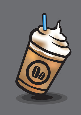 whip cream: Vector illustration of an ice blended coffee isolated on grey background Illustration