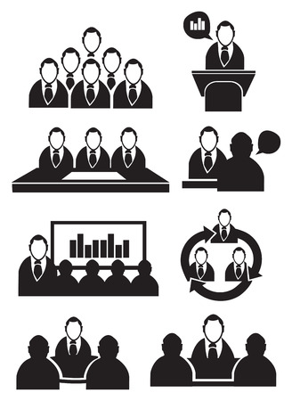 Vector illustration of businessmen in business settings isolated on white