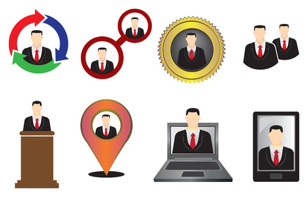 busines: Vector illustration of businessman used in different signs and symbols