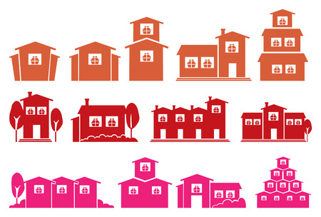 chalet: Vector illustration of houses and homes in different designs