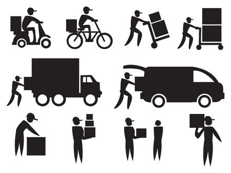 Vector illustration of the work of a delivery man. Black on white icon set. Vector