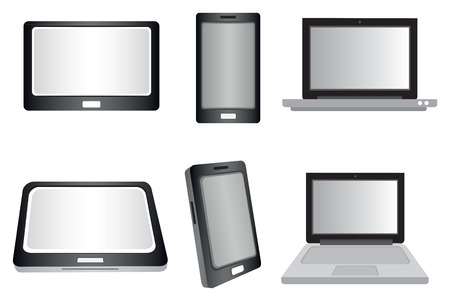 touch screen phone: illustration of laptop computer, touch screen laptop and smart phone icon isolated on white background