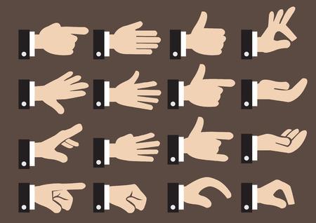 제스처: 사업가의 손 징후와 제스처의 고립 된 아이콘을 설정 일러스트