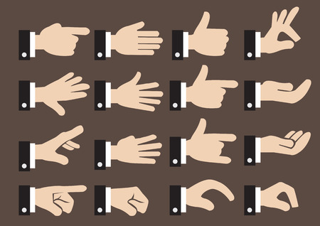 Isolated icon set of hand signs and gestures of a businessman  Vettoriali
