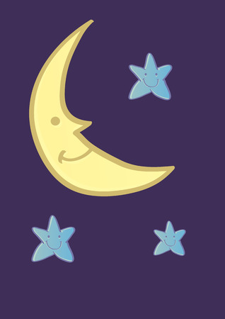 crescent moon: Vector cartoon illustration of a smiling crescent moon and three blue friendly stars on night sky