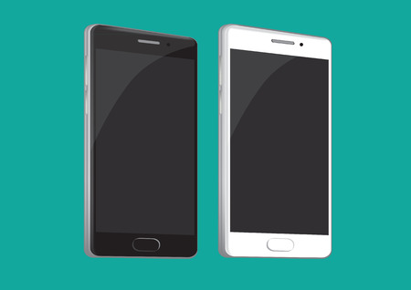mobile phone: Vector illustration of two smart phone in black and white isolated on green background