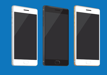 Vector illustration of realistic brand new smart phone in three different colors isolated on blue background Illustration