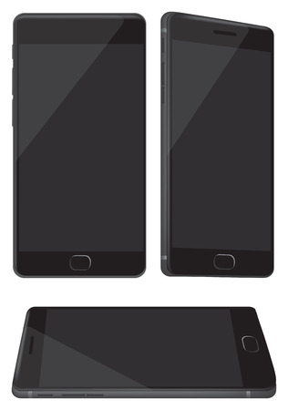 tilted view: Vector illustration of a new black and shiny handphone in three different perspective views isolated on white background Illustration