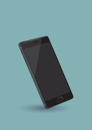 Vector illustration of a new black and shiny mobile phone isolated on cool blue green background Vector