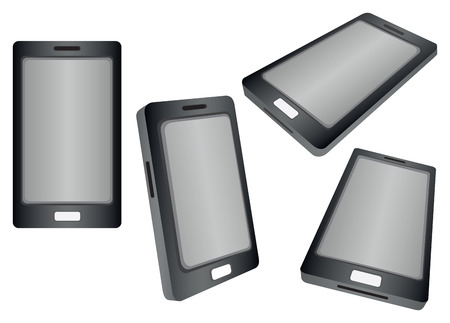 Vector illustration of realistic smart phones in different views and perspectives Vector