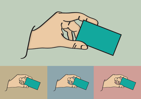 blank business card: illustration of a hand holding a blank business card with copy space on different background options