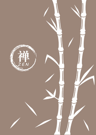 enso: Vector illustration of bamboo in white on brown background with round zen symbol, enso, beside it. Chinese character means Zen.