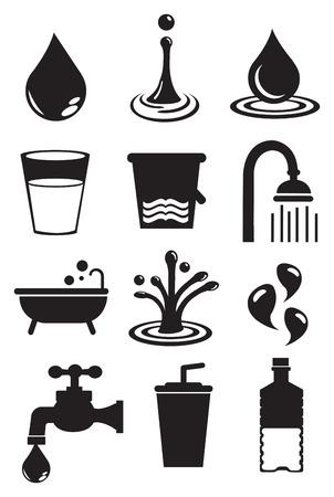 vaso de agua: Ilustraci�n del vector del agua y sus usos. Blanco y negro aislado icono vector set.