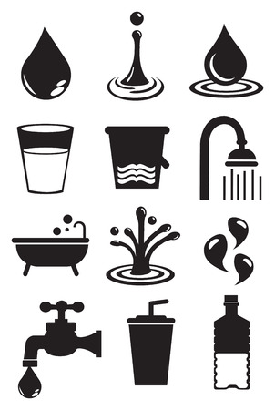 Vector illustratie van het water en de gebruiksmogelijkheden. Zwart en wit geïsoleerde vector icon set.