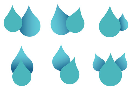 Vector design of water drops in turquoise isolated on white background Illustration