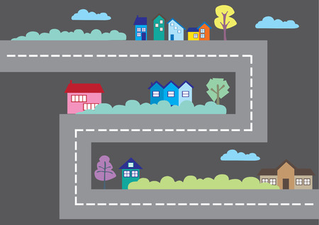 Vector illustration of urban setting with houses along a major road in a cartoon game