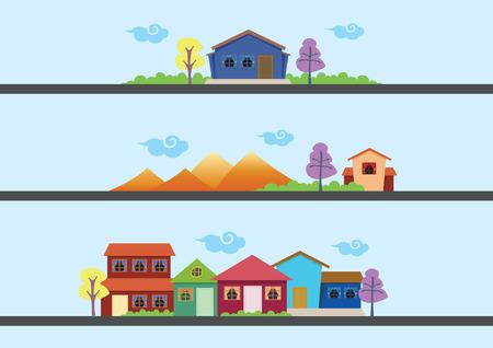 Drie sets van vector illustratie van eenvoudige huizen en kleurrijke landschap.