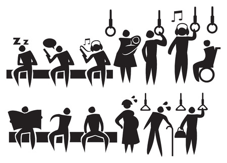 old people reading: Vector illustration of the different commuters and activities in a public transport.