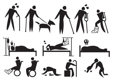 sickness: Ilustraci�n del vector de las personas con la enfermedad, discapacidad y sufrimiento. Conjunto de iconos conceptual. Vectores