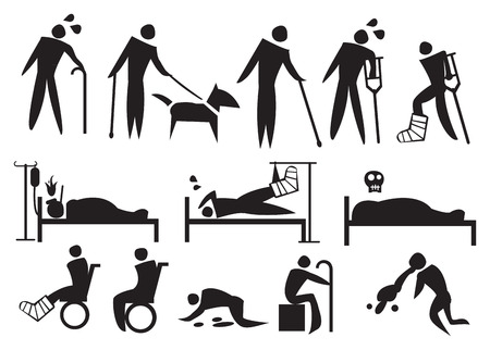 Vector illustration of people with sickness, disabilities and suffering. Conceptual icon set. Vector