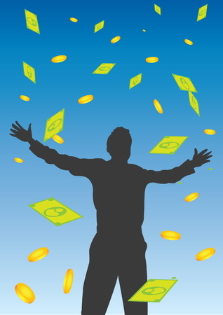 illustration of a man silhouette standing with open arms and money falling from the sky. Vector