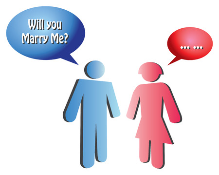 hesitation: illustration of blue icon man proposing to a red icon woman who hesitated to answer. Illustration