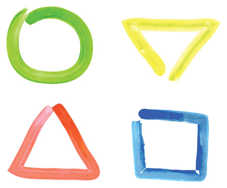 inverted: Drawing of four simple shapes, circle, triangle, square and inverted triangles