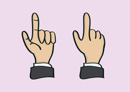 Vector illustration of a cartoon hand doing a clicking and pointing gesture in front and back view. Illustration