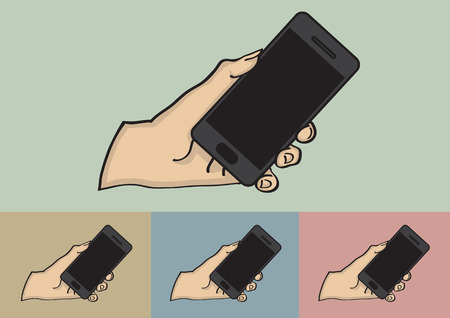 touch screen phone: Vector illustration of a hand holding a black touch screen mobile phone isolated on different color background