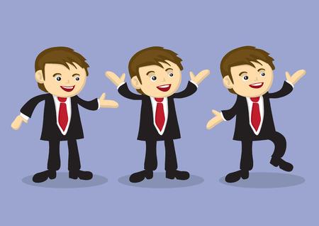 baile caricatura: Ilustraci�n vectorial de un feliz hombre de negocios lindo en tres poses diferentes aislados sobre fondo morado