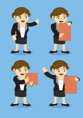 business attire teacher: Vector illustration of a cute happy business woman in four different poses Illustration