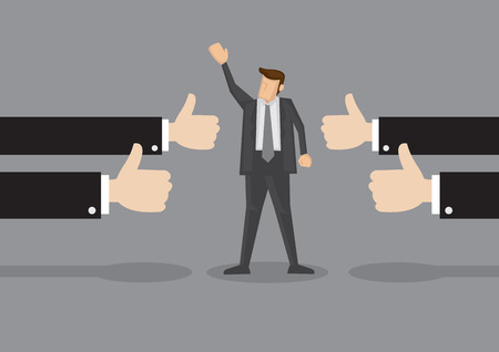 Vector illustration of a successful businessman acknowledging many thumbs up around him. Conceptual design for success and achievement Stock Illustratie