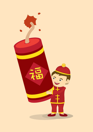 fire cracker: Vector illustration of a cartoon boy holding on a giant fire cracker for Chinese New Year celebration. Chinese word says fortune. Illustration