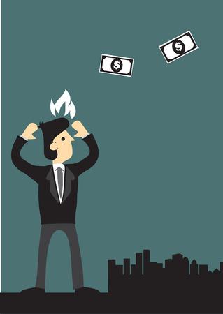 flying money: Vector ilustraci�n de un hombre de negocios de dibujos animados est� molesto por el dinero volando. Concepto para la p�rdida financiera. Vectores