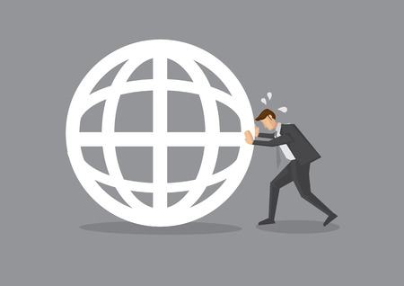 perspiration: Vector illustration of a cartoon businessman pushing hard and trying to move a globe. Conceptual design.