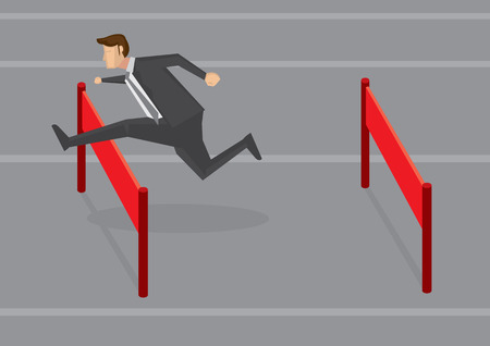 Vector illustration of a businessman running and jumping hurdles. Conceptual design for overcoming difficulties in business. Vector