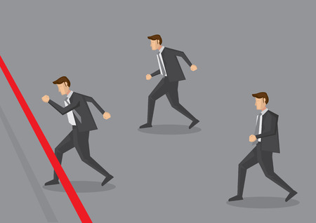Vector illustration of three businessman running towards finish line. Conceptual design for business competition Vector