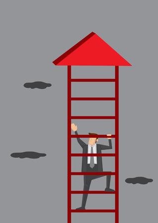 diligente: ilustración de un hombre de negocios subir una escalera de color rojo hasta la flecha