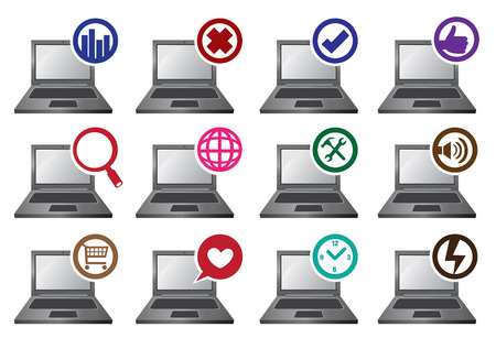 Vector illustration of twelve laptop computers with different round symbol icon on top left corner. Isolated on white. Vector