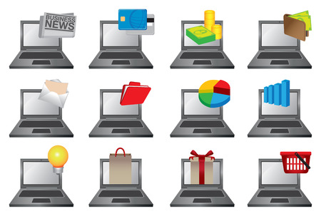 Vector illustration of laptop computers with colorful icons of different softwares and applications for personal, business and commerce Vector