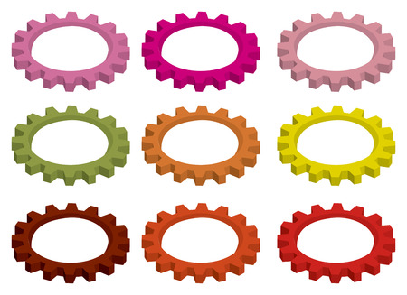 toothed: Vector illustration of cogwheel, mechanical toothed wheel gear for rotation, in different vibrant colors isolated on white background.