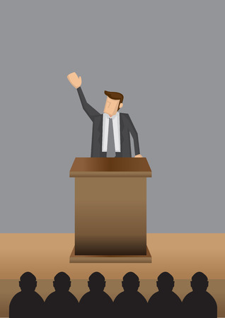 lectern: Vector illustration of a man in professional grey suit standing at lectern giving public speech.