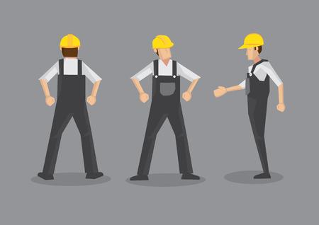 fullbody: Ilustraci�n vectorial de un comerciante en la industria de la construcci�n. Frontal de cuerpo completo, perfil y vistas traseras aisladas sobre fondo gris. Vectores