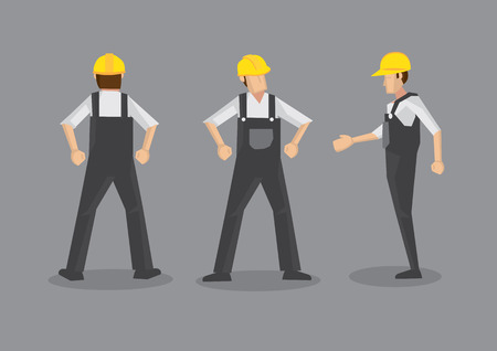 odd job: Vector illustration of a tradesman in construction industry. Full body front, profile and back views isolated on grey background.